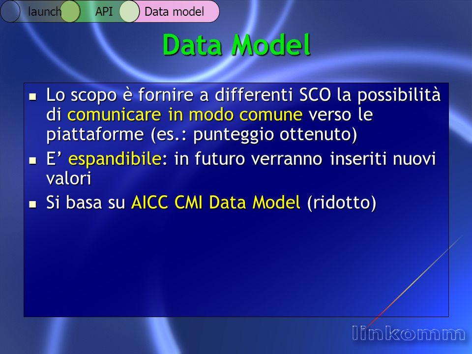 Data Model Lo scopo è fornire a differenti SCO la possibilità di comunicare in modo comune verso le piattaforme (es.: punteggio ottenuto) Lo scopo è fornire a differenti SCO la possibilità di comunicare in modo comune verso le piattaforme (es.: punteggio ottenuto) E espandibile: in futuro verranno inseriti nuovi valori E espandibile: in futuro verranno inseriti nuovi valori Si basa su AICC CMI Data Model (ridotto) Si basa su AICC CMI Data Model (ridotto) Data model API launch