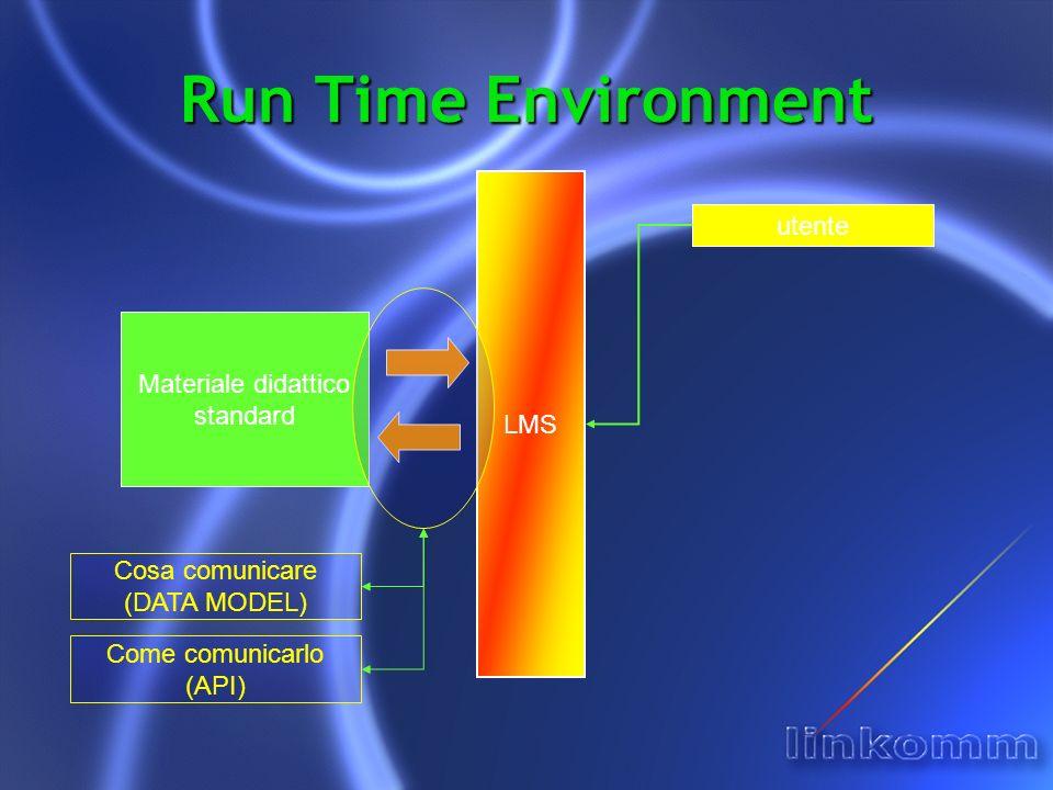 Run Time Environment LMS utente Materiale didattico standard Cosa comunicare (DATA MODEL) Come comunicarlo (API)