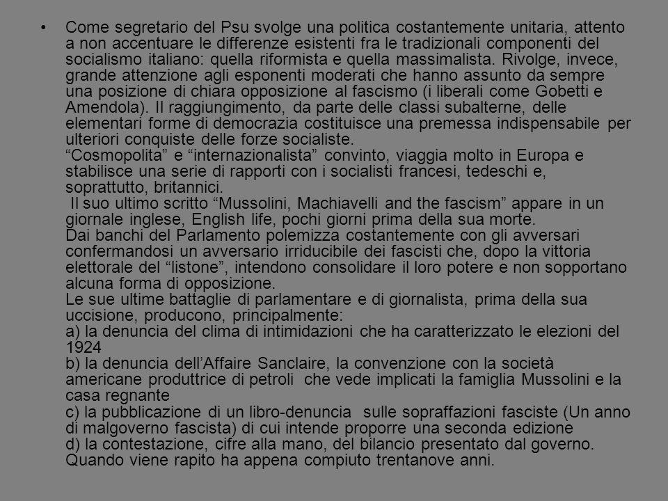 Il discorso pronunciato da Giacomo Matteotti il 30 maggio 1924 alla Camera dei deputati costituisce, oltre che un duro attacco ai suoi avversari politici, un esempio un piccolo gioiello di analisi storico-politica.