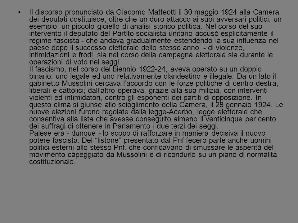 Il discorso pronunciato da Giacomo Matteotti il 30 maggio 1924 alla Camera dei deputati costituisce, oltre che un duro attacco ai suoi avversari polit