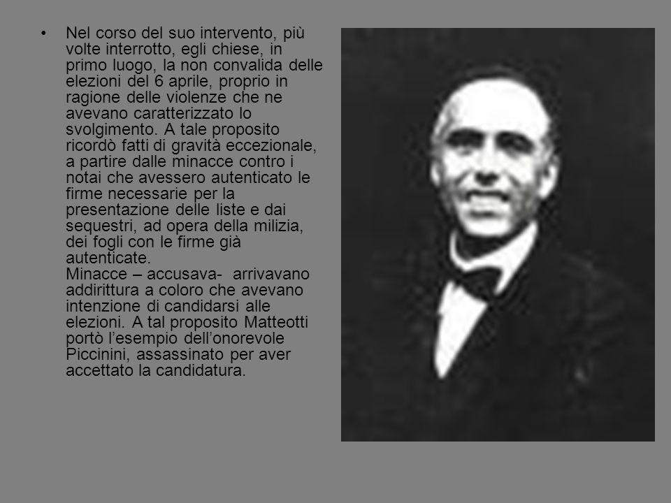 Matteotti ricordò anche la conferenza dellonorevole Gonzales a Genova, che fu impedita a furia di bastonate dagli squadristi.