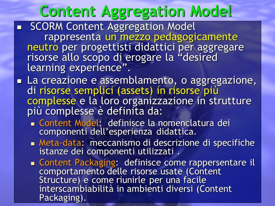 Content Aggregation Model SCORM Content Aggregation Model rappresenta un mezzo pedagogicamente neutro per progettisti didattici per aggregare risorse allo scopo di erogare la desired learning experience.