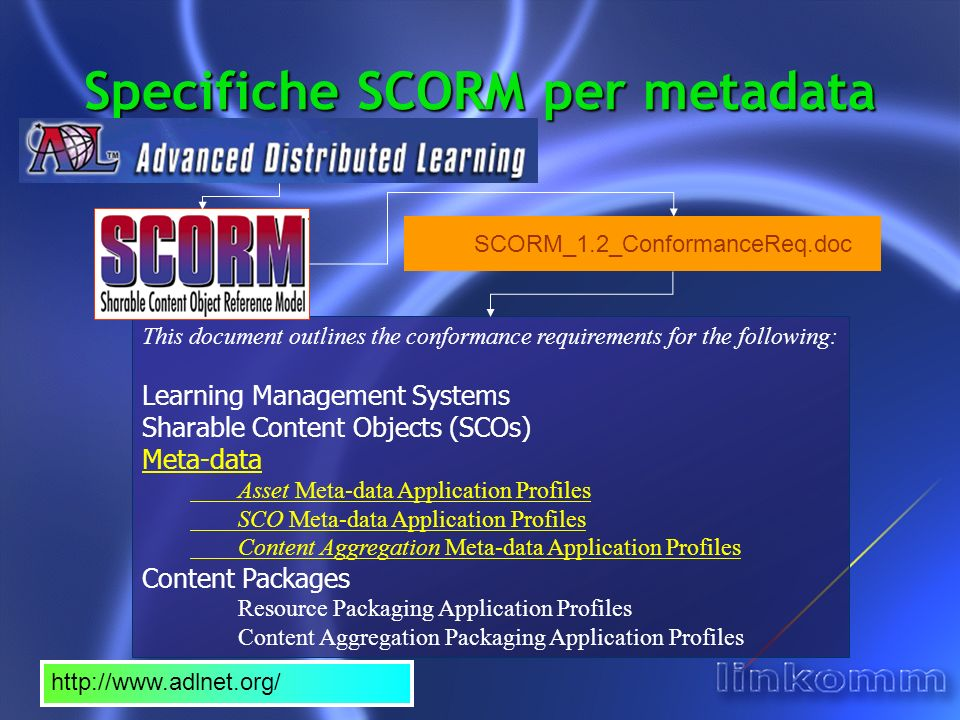 SCORM Version 1.2 Meta-data XML Conformant – Minimum Conformance Label: MD-XML1 Requirements Summary: The Content Aggregation, Sharable Content Object (SCO) or Asset Meta-data XML Instance: Is a well formed XML Document, and Is valid against the IMS Learning Resource Metadata Version 1.2.1 XML Schema Definition (XSD), and Contains all mandatory document elements for the corresponding meta-data application profile (Content Aggregation, SCO or Asset) as described in Section 2.2 of the Content Aggregation Model 1, and Elements defined as having restricted vocabularies adhere to all defined vocabularies as defined in Section 2.2 of the Content Aggregation Model 1 Content Aggregation, Sharable Content Object (SCO) and Asset Meta-data Conformance Categories (1) This section provides specific guidance for applying meta-data to learning resources.