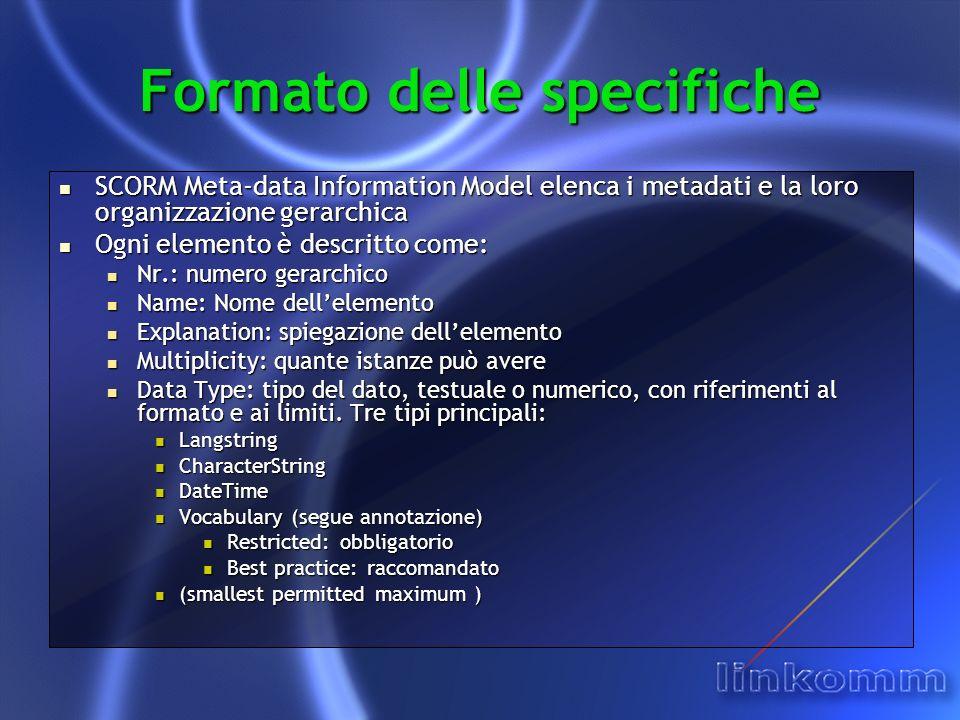 Formato delle specifiche SCORM Meta-data Information Model elenca i metadati e la loro organizzazione gerarchica SCORM Meta-data Information Model ele