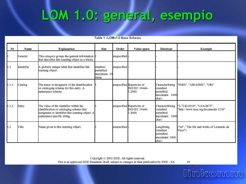 LOM 1.0: general, esempio
