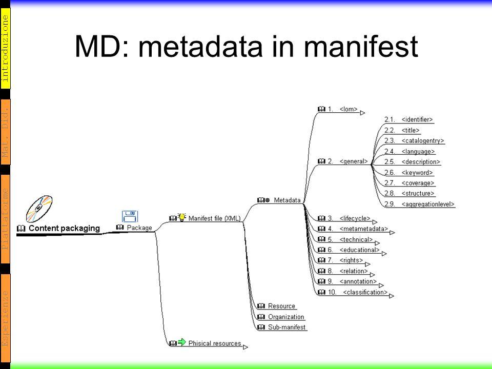 introduzione Mat. Did. Piattaforme Esperienze MD: metadata in manifest