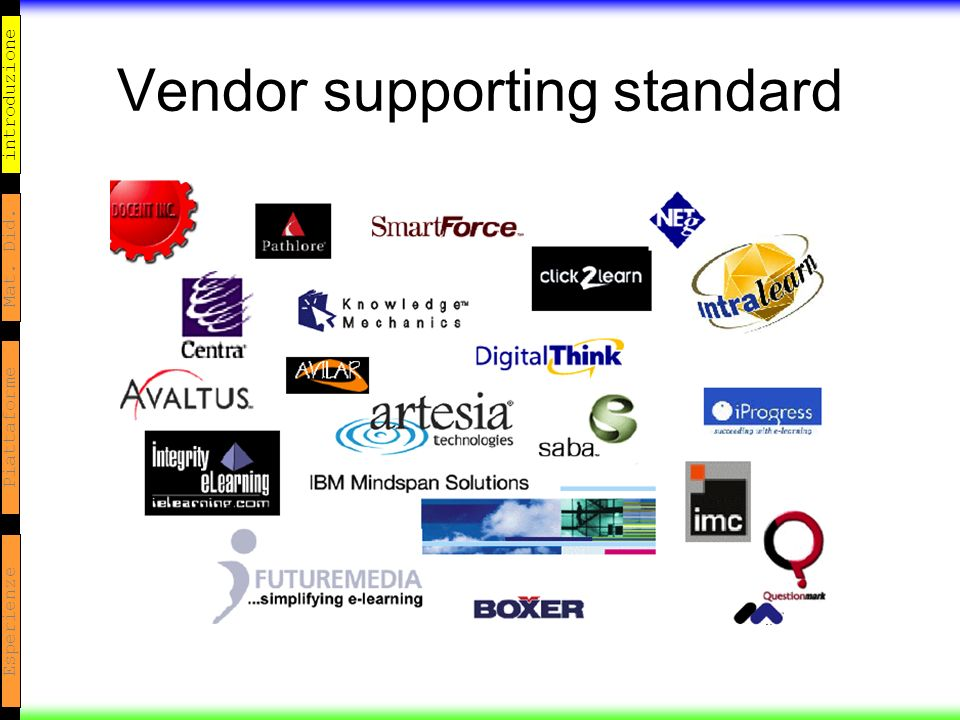 introduzione Mat. Did. Piattaforme Esperienze Vendor supporting standard