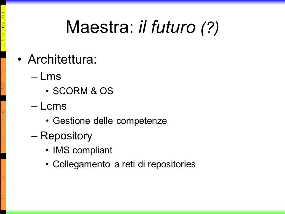 introduzione Mat. Did. Piattaforme Esperienze Maestra: il futuro (?) Architettura: –Lms SCORM & OS –Lcms Gestione delle competenze –Repository IMS com