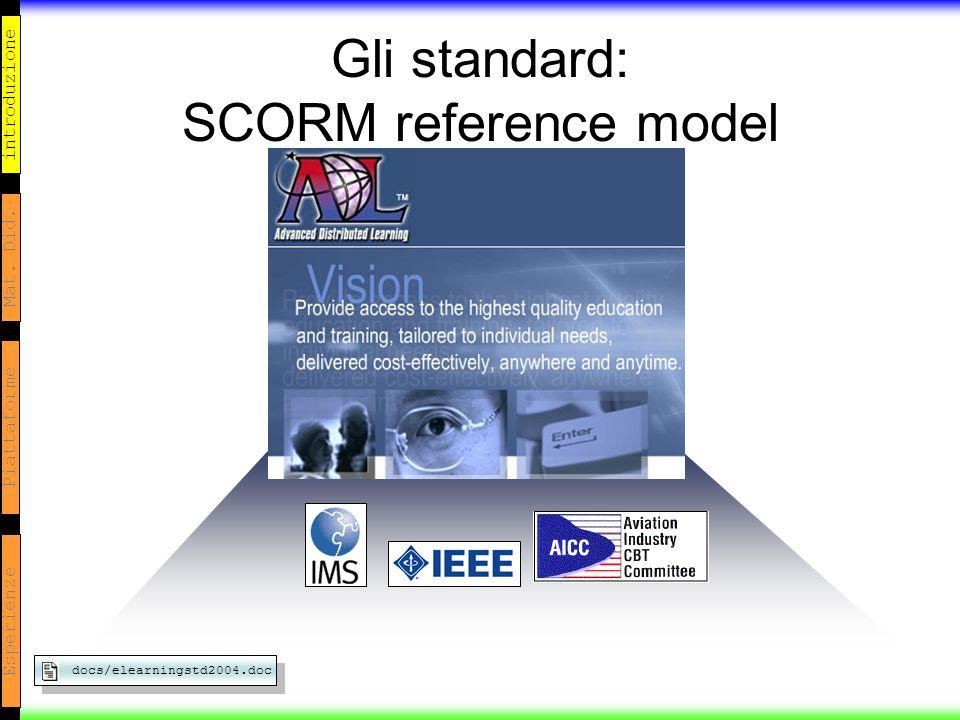 introduzione Mat. Did. Piattaforme Esperienze Gli standard: SCORM reference model docs/elearningstd2004.doc