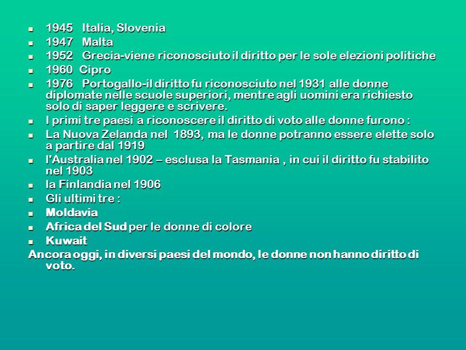 1945 Italia, Slovenia 1945 Italia, Slovenia 1947 Malta 1947 Malta 1952 Grecia-viene riconosciuto il diritto per le sole elezioni politiche 1952 Grecia