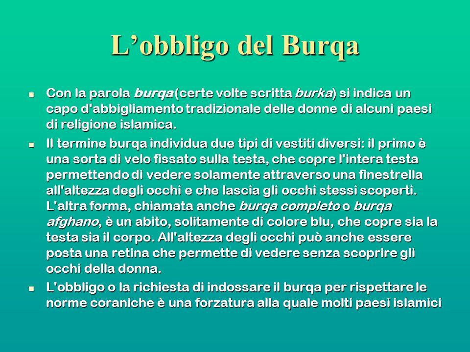 Lobbligo del Burqa Con la parola burqa (certe volte scritta burka) si indica un capo d'abbigliamento tradizionale delle donne di alcuni paesi di relig