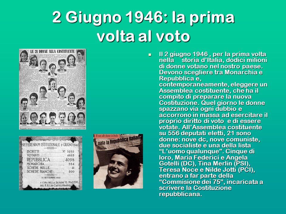 2 Giugno 1946: la prima volta al voto Il 2 giugno 1946, per la prima volta nella storia dItalia, dodici milioni di donne votano nel nostro paese. Devo