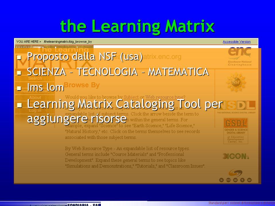 Progetto sistema elearning Standard per i sistemi di formazione a distanza Slide 10 the Learning Matrix Proposto dalla NSF (usa) Proposto dalla NSF (u