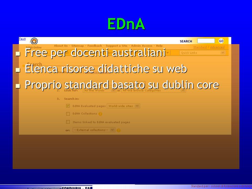 Progetto sistema elearning Standard per i sistemi di formazione a distanza Slide 6 EDnA Free per docenti australiani Free per docenti australiani Elen