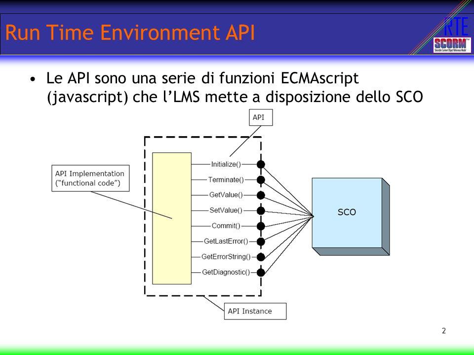 RTE 2 Run Time Environment API Le API sono una serie di funzioni ECMAscript (javascript) che lLMS mette a disposizione dello SCO