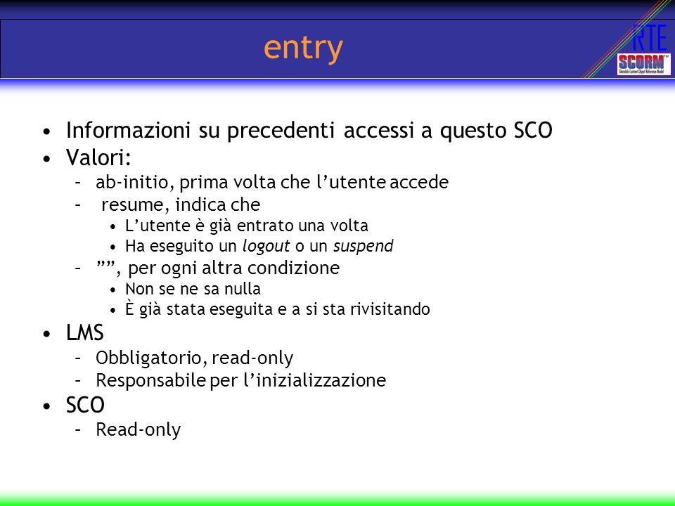 RTE entry Informazioni su precedenti accessi a questo SCO Valori: –ab-initio, prima volta che lutente accede – resume, indica che Lutente è già entrat