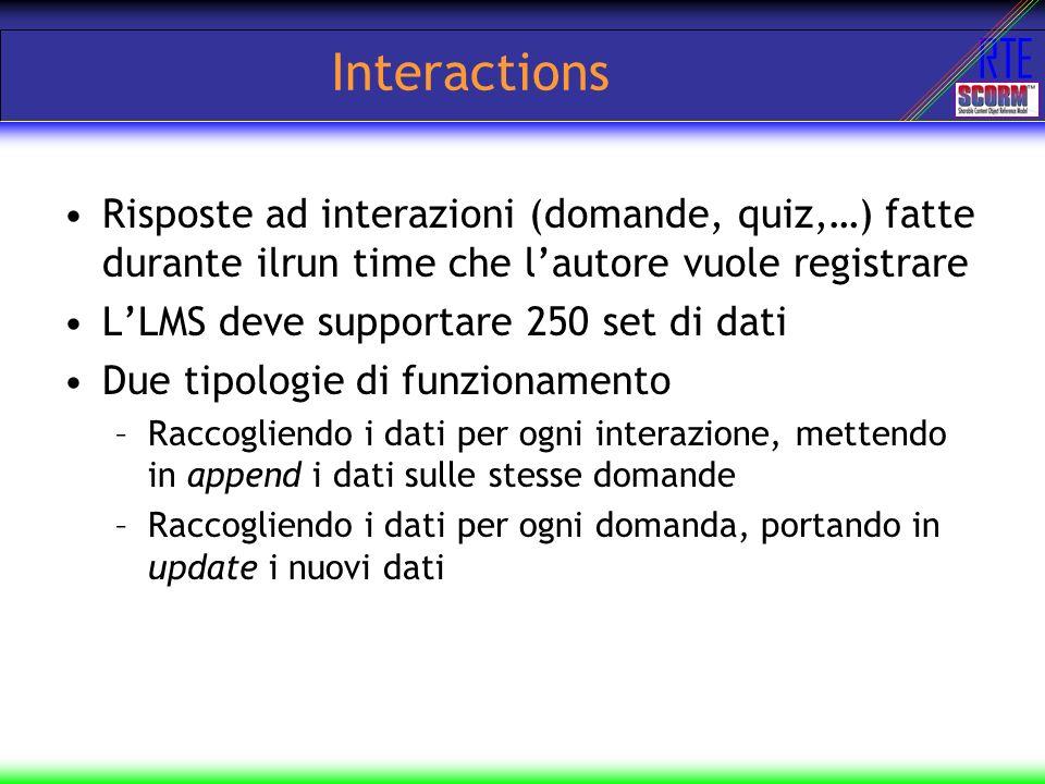 RTE Interactions Risposte ad interazioni (domande, quiz,…) fatte durante ilrun time che lautore vuole registrare LLMS deve supportare 250 set di dati