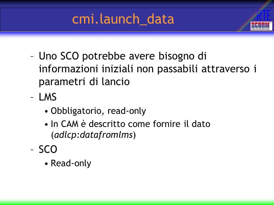 RTE cmi.launch_data –Uno SCO potrebbe avere bisogno di informazioni iniziali non passabili attraverso i parametri di lancio –LMS Obbligatorio, read-on