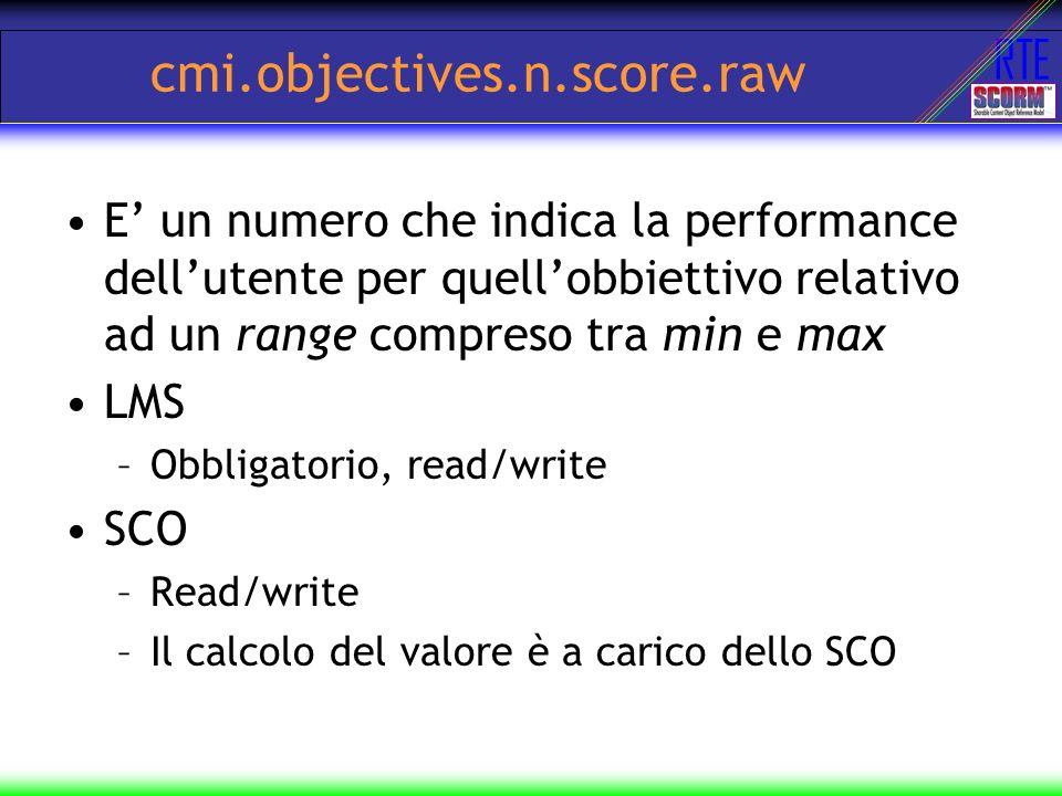 RTE cmi.objectives.n.score.raw E un numero che indica la performance dellutente per quellobbiettivo relativo ad un range compreso tra min e max LMS –O