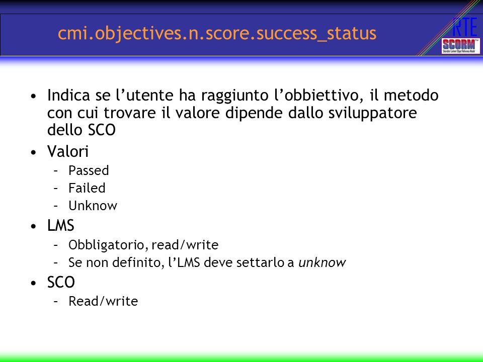 RTE cmi.objectives.n.score.success_status Indica se lutente ha raggiunto lobbiettivo, il metodo con cui trovare il valore dipende dallo sviluppatore d