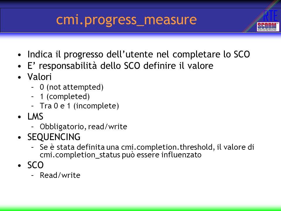 RTE cmi.progress_measure Indica il progresso dellutente nel completare lo SCO E responsabilità dello SCO definire il valore Valori –0 (not attempted)