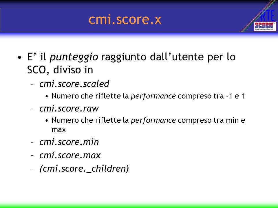 RTE cmi.score.x E il punteggio raggiunto dallutente per lo SCO, diviso in –cmi.score.scaled Numero che riflette la performance compreso tra -1 e 1 –cm