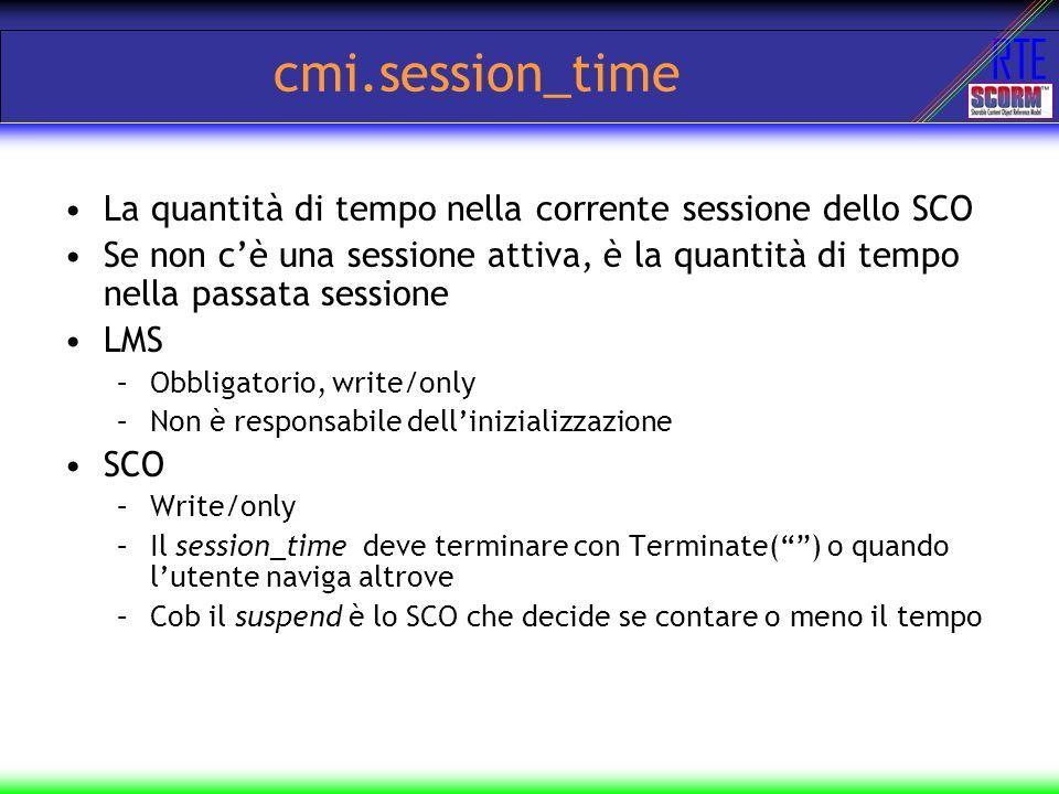 RTE cmi.session_time La quantità di tempo nella corrente sessione dello SCO Se non cè una sessione attiva, è la quantità di tempo nella passata sessio
