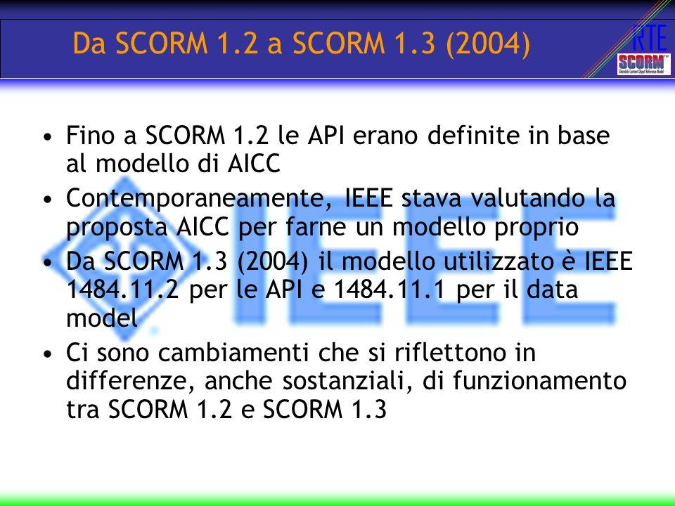 RTE Run Time Environment LMS utente Materiale didattico standard Cosa comunicare (DATA MODEL) Come comunicarlo (API)