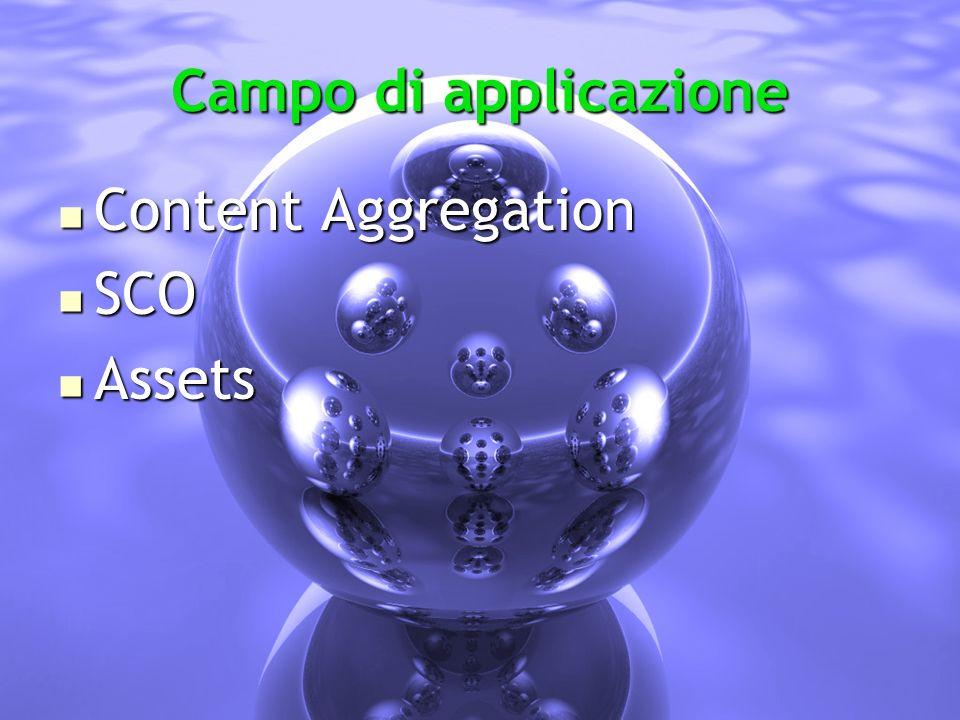 Campo di applicazione Content Aggregation Content Aggregation SCO SCO Assets Assets