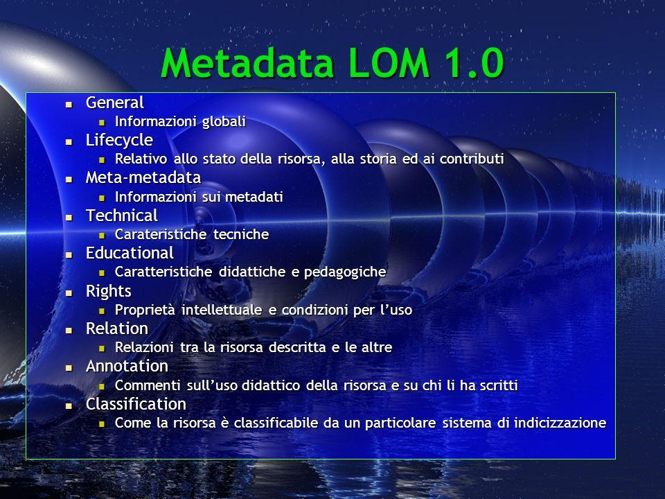 Relation, II 7.2Resource - 7.2.1Identifier - 7.2.1.1Catalog IEEE p1484.12.1 characterstrin g url 7.2.1.2Entry D6.4 characterstrin g http://www.losero.net/materiali/standard oc.html ) (?) 7.2.2Description ( en , The last draft version of the LOM standard. ) langstring ( it , documento sulla standardizzazione dei materiali didattici )