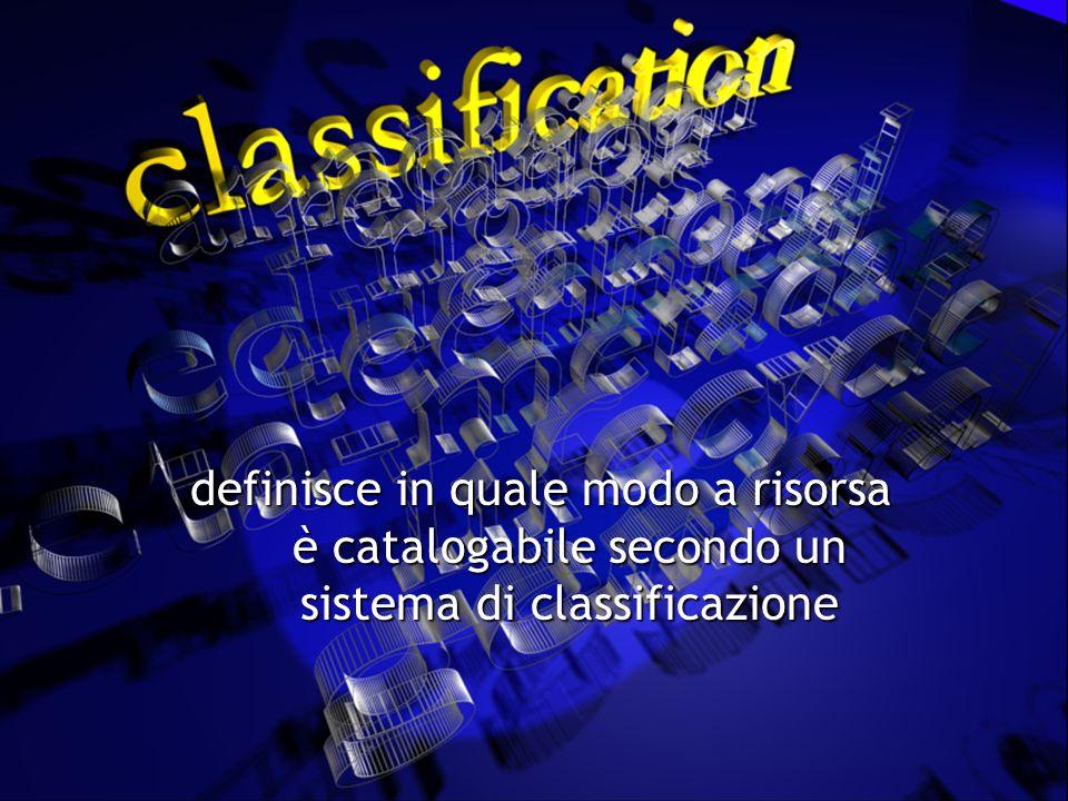 definisce in quale modo a risorsa è catalogabile secondo un sistema di classificazione definisce in quale modo a risorsa è catalogabile secondo un sistema di classificazione