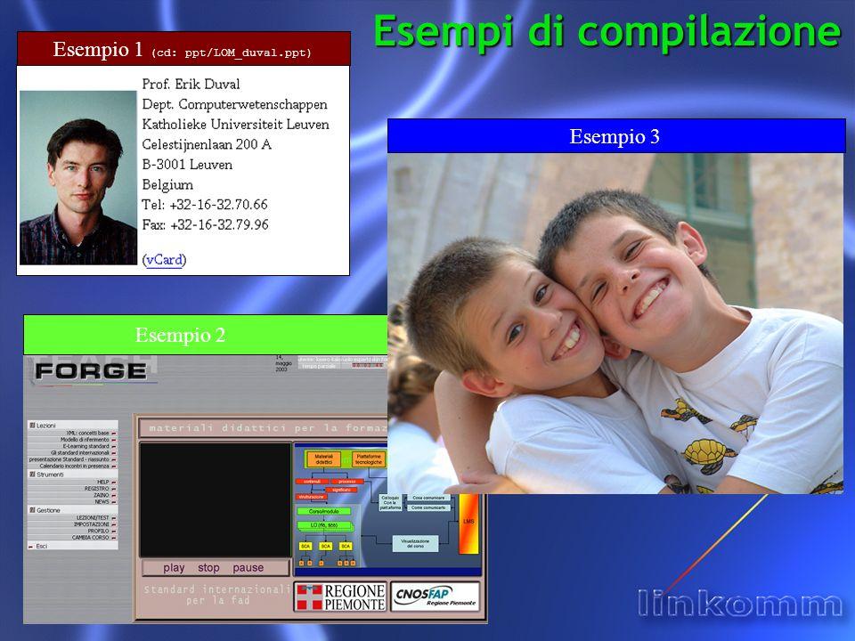 Esempi di compilazione Esempio 1 (cd: ppt/LOM_duval.ppt) Esempio 2 Esempio 3