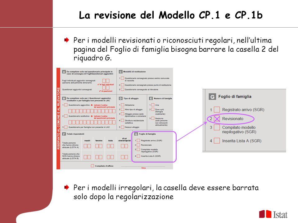 La revisione del Modello CP.1 e CP.1b Per i modelli revisionati o riconosciuti regolari, nellultima pagina del Foglio di famiglia bisogna barrare la casella 2 del riquadro G.