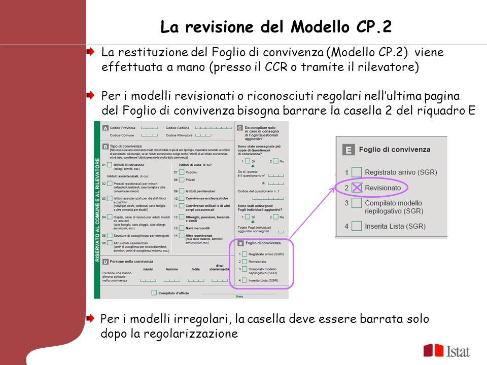 La revisione del Modello CP.2 La restituzione del Foglio di convivenza (Modello CP.2) viene effettuata a mano (presso il CCR o tramite il rilevatore) Per i modelli revisionati o riconosciuti regolari nellultima pagina del Foglio di convivenza bisogna barrare la casella 2 del riquadro E Per i modelli irregolari, la casella deve essere barrata solo dopo la regolarizzazione