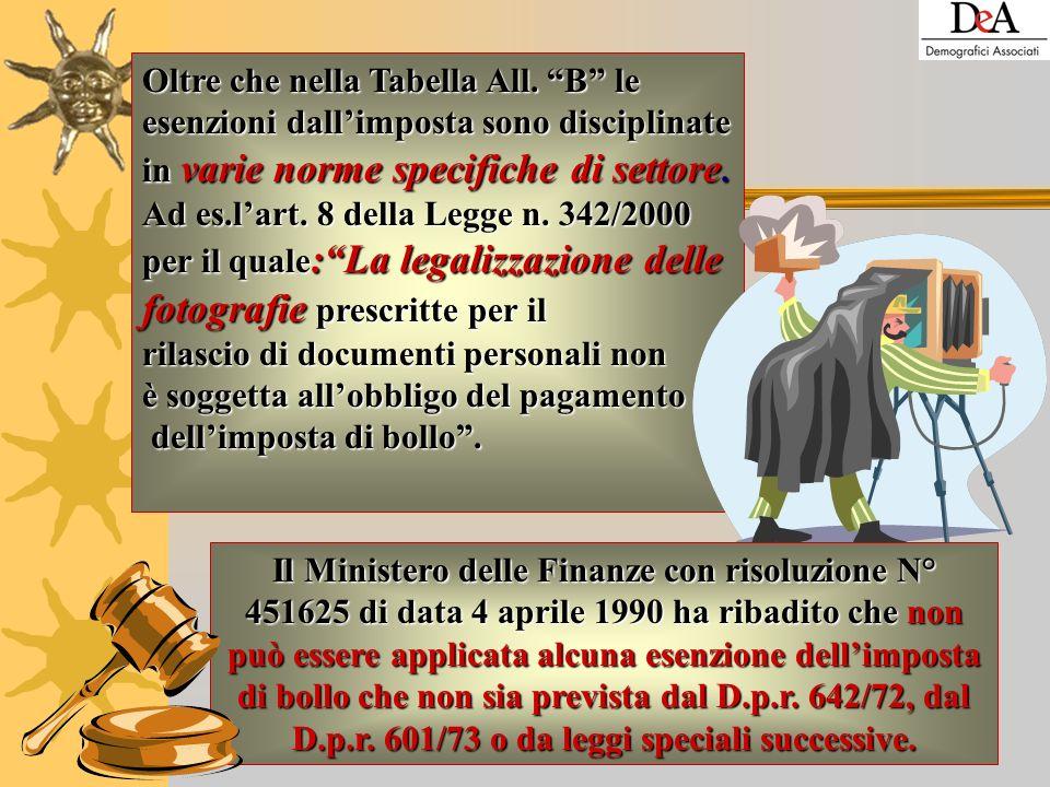 Art. 14 – dichiarazioni sostitutive, domande per ottenere certificati ed altri atti e documenti esenti da imposta, domande per il rilascio di copie ed