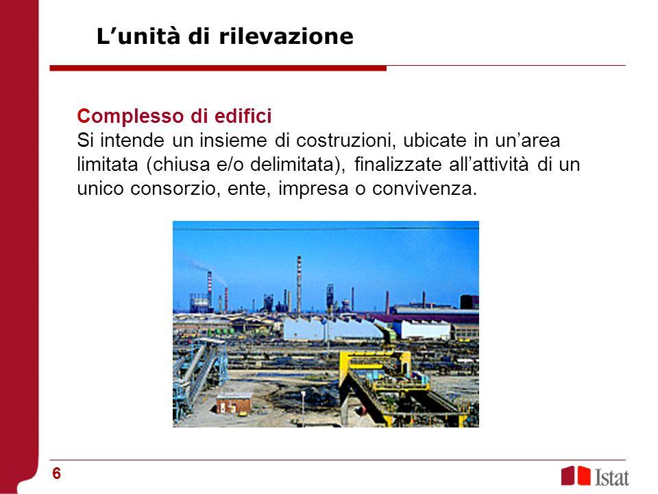 6 Complesso di edifici Si intende un insieme di costruzioni, ubicate in unarea limitata (chiusa e/o delimitata), finalizzate allattività di un unico consorzio, ente, impresa o convivenza.