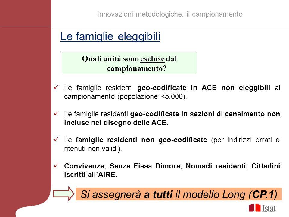 Le famiglie residenti geo-codificate in ACE non eleggibili al campionamento (popolazione <5.000).