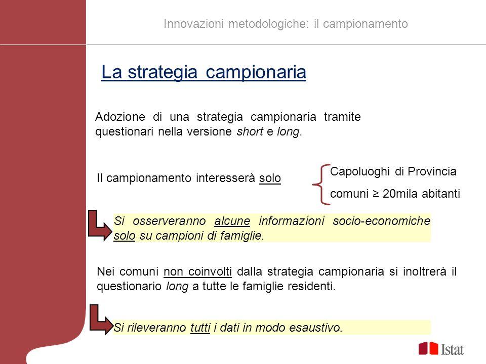 La strategia campionaria Adozione di una strategia campionaria tramite questionari nella versione short e long.