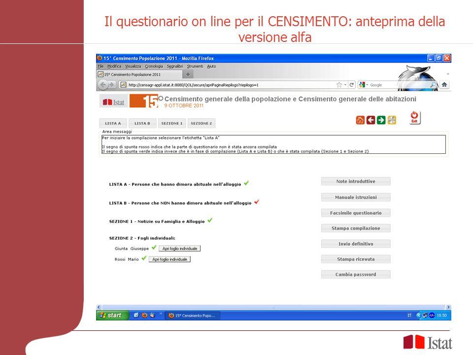 Il questionario on line per il CENSIMENTO: anteprima della versione alfa