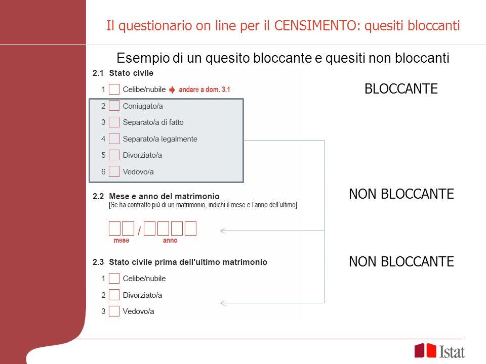Esempio di un quesito bloccante e quesiti non bloccanti BLOCCANTE NON BLOCCANTE Il questionario on line per il CENSIMENTO: quesiti bloccanti