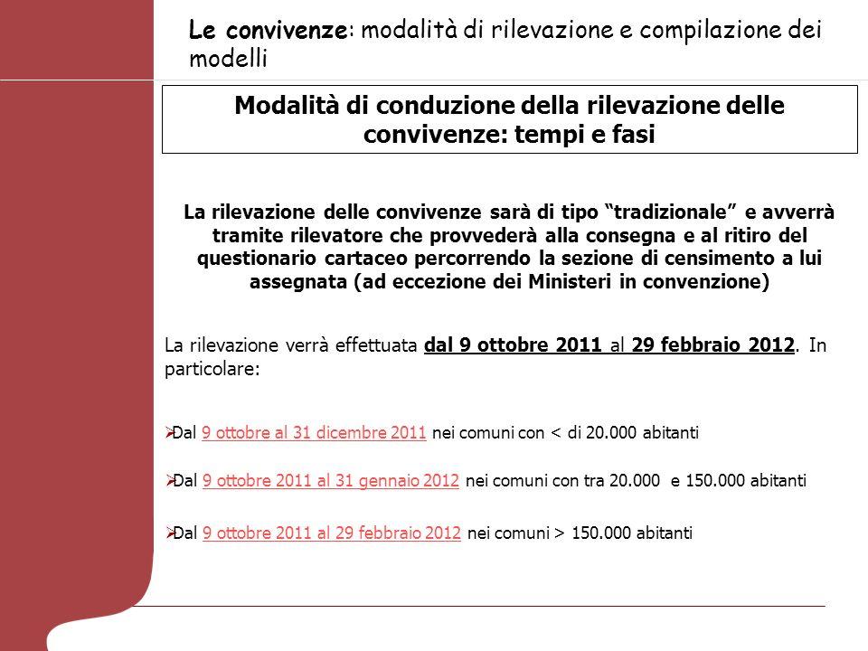 Le convivenze: modalità di rilevazione e compilazione dei modelli Modalità di conduzione della rilevazione delle convivenze: tempi e fasi La rilevazio