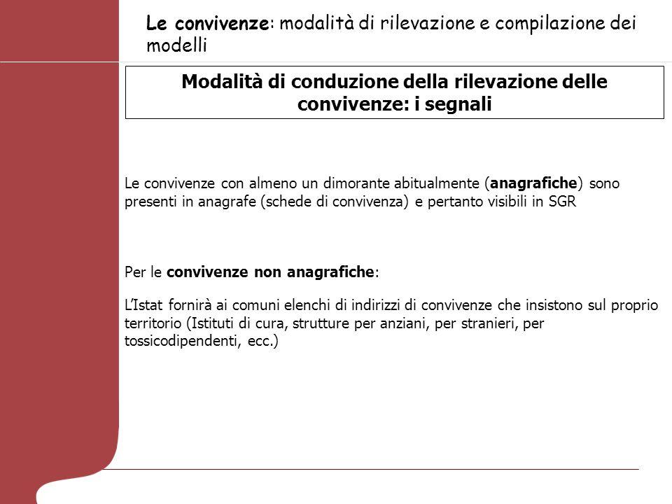 Le convivenze: modalità di rilevazione e compilazione dei modelli Modalità di conduzione della rilevazione delle convivenze: i segnali Le convivenze c