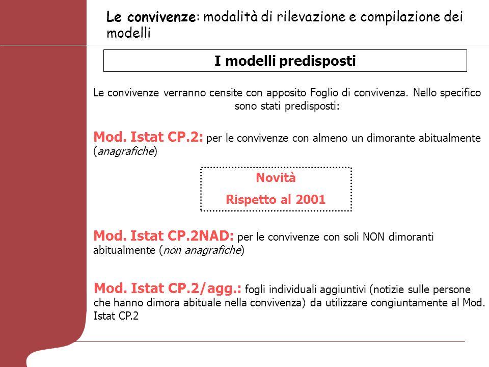 Le convivenze: modalità di rilevazione e compilazione dei modelli I modelli predisposti Le convivenze verranno censite con apposito Foglio di convivenza.