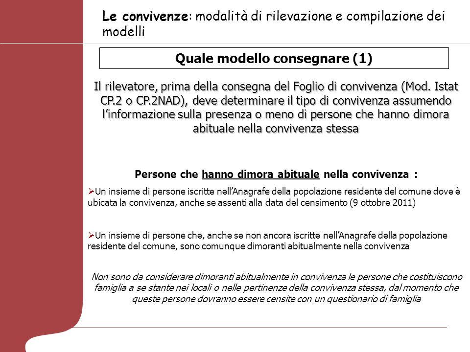 Le convivenze: modalità di rilevazione e compilazione dei modelli Quale modello consegnare (1) Il rilevatore, prima della consegna del Foglio di convivenza (Mod.