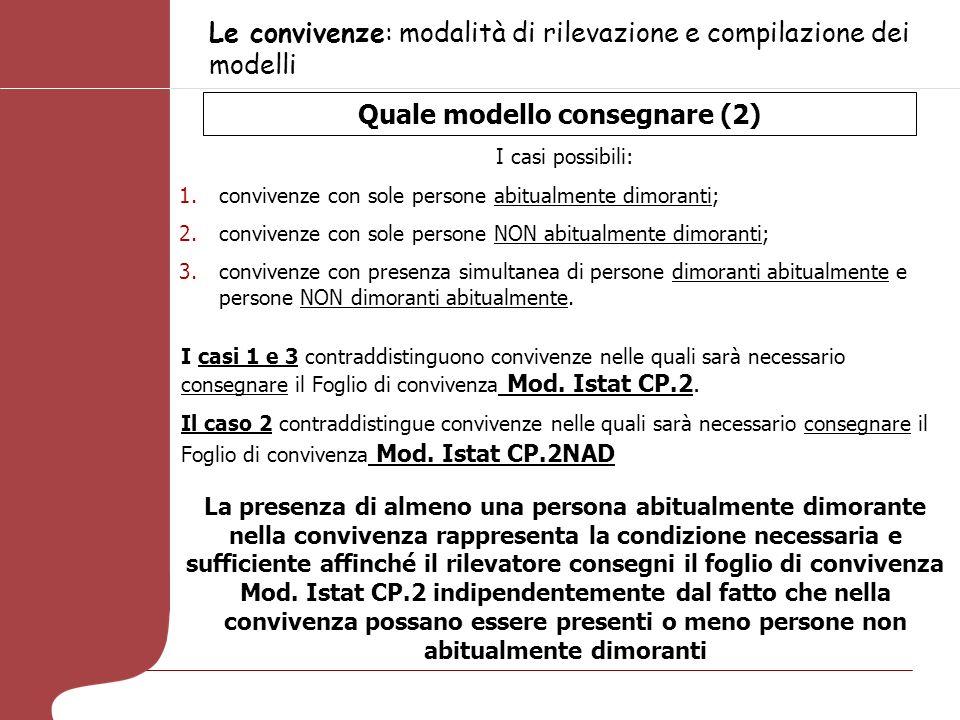 Le convivenze: modalità di rilevazione e compilazione dei modelli Quale modello consegnare (2) I casi possibili: 1.convivenze con sole persone abitual