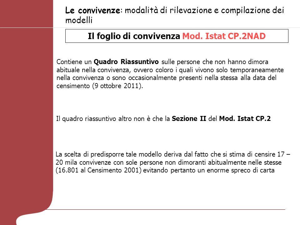 Le convivenze: modalità di rilevazione e compilazione dei modelli Il foglio di convivenza Mod. Istat CP.2NAD Contiene un Quadro Riassuntivo sulle pers