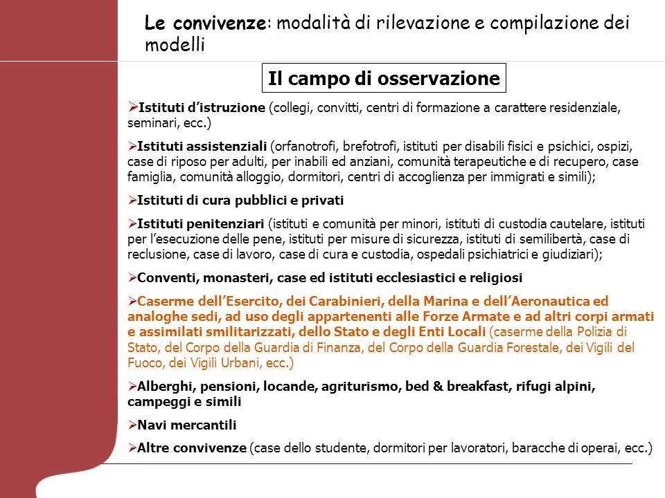 Le convivenze: modalità di rilevazione e compilazione dei modelli Il campo di osservazione Istituti distruzione (collegi, convitti, centri di formazio