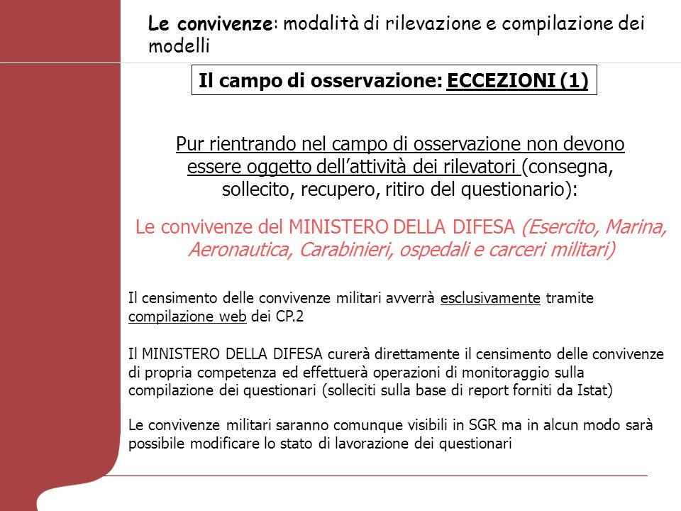Le convivenze: modalità di rilevazione e compilazione dei modelli Il campo di osservazione: ECCEZIONI (1) Pur rientrando nel campo di osservazione non