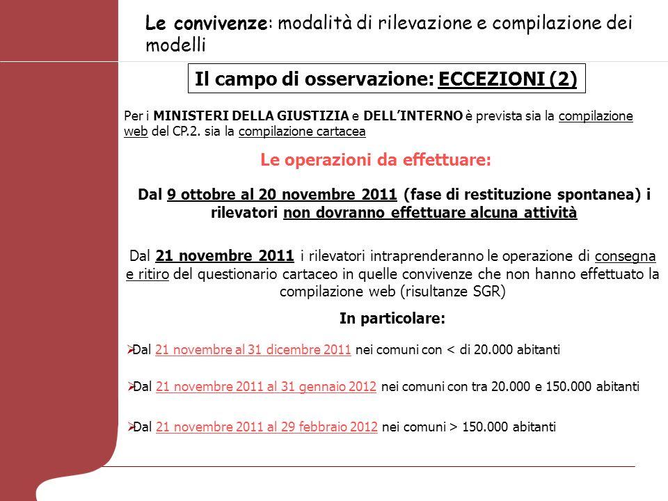 Le convivenze: modalità di rilevazione e compilazione dei modelli Modalità di conduzione della rilevazione delle convivenze: tempi e fasi La rilevazione verrà effettuata dal 9 ottobre 2011 al 29 febbraio 2012.