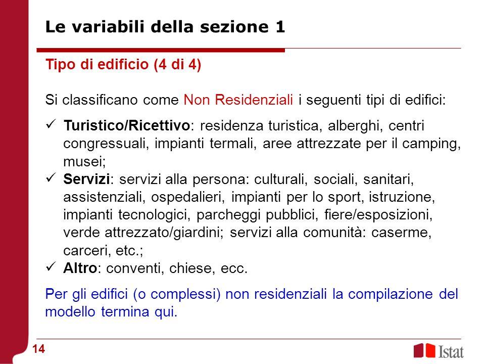 14 Tipo di edificio (4 di 4) Si classificano come Non Residenziali i seguenti tipi di edifici: Turistico/Ricettivo: residenza turistica, alberghi, cen